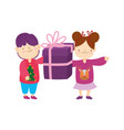 merry christmas little boy girl with sweater and vector image vector image