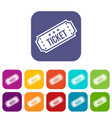 movie ticket icons set vector image vector image