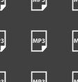 mp3 icon sign Seamless pattern on a gray vector image vector image