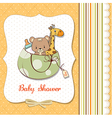 new baby announcement card with bag and same toys vector image vector image