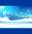 night in winter forest woodland landscape falling vector image vector image