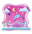 open fairy tale book with dolphin and tropic vector image vector image