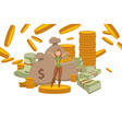 rich woman with money fortune successful female vector image