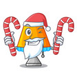 santa with candy modern table lamp isolated on vector image