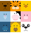 set of cute simple animal faces vector image vector image
