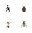 set of insect realistic symbols with bug wasp vector image