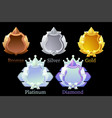 set shields for achievements in game vector image vector image