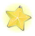 shining star hanging on a nail isolated on white vector image