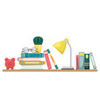stack books with a lamp glasses and cactus vector image