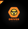 steering wheel in hexagon icon logotype driver vector image
