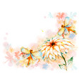 summer card with dragonflies and lily flower vector image