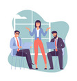 two young man and women taking part in business vector image vector image