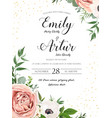 wedding floral invite card design with rose flower vector image vector image