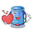 with heart cylinder bucket with handle on cartoon vector image
