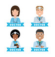women doctors and nurse with medical tools vector image