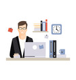young businessman character sitting at the vector image vector image