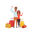 young couple with travel bags waving hands people vector image vector image