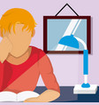 young student reading on room vector image vector image