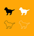 puppy set black and white icon vector image
