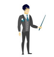 asian groom holding pointer stick vector image vector image