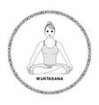 beautiful women does yoga ornamental circle vector image vector image