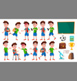 boy schoolboy kid poses set primary school vector image