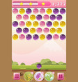bubble shooter game interface with bonus flowers vector image
