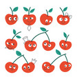cherry with faces and different emotions vector image vector image
