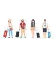 collection of male and female travelers dressed in vector image vector image
