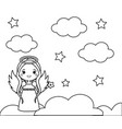 coloring page with cute angel on clouds drawing vector image vector image