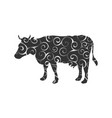 cow farm mammal color silhouette animal vector image vector image