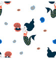 cute cartoon style mermaid seamless pattern vector image vector image
