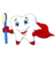 Cute cartoon superhero tooth with toothbrush vector image vector image