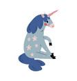 cute sitting uncorn adorable fantasy animal vector image vector image