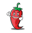 enthusiastic red chili character cartoon vector image vector image