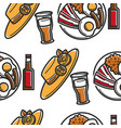 female hat beer and english breakfast seamless vector image vector image