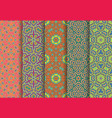 festive colorful seamless patterns package vector image