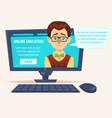 flat cartoon cute funny teacher student geek on vector image