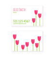 flat design template business cards florist vector image