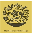 Flower leaves basket logo vector image
