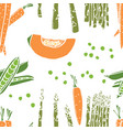 food collection carrots and peas seamless pattern vector image