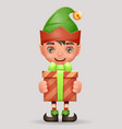 give away bestow gift box christmas elf boy santa vector image vector image