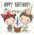 greeting card boy and girl vector image
