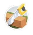 Hacksaw cut wooden board vector image