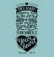 hand lettering with bible verse delight yourself vector image vector image