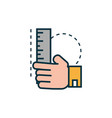 hand with ruler work tools engineering icon vector image vector image