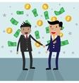 Handshake money bg in flat style vector image vector image