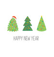 happy new year greeting card with christmas trees vector image vector image