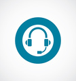 headphones icon bold blue circle border vector image vector image