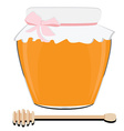 Honey spoon and pot vector image vector image